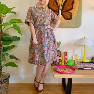Vintage 1950s kaleidoscope cotton day dress XL